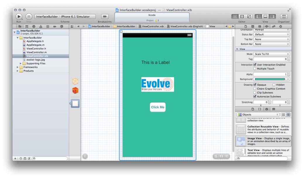 Screen shot of Interface Builder in Action