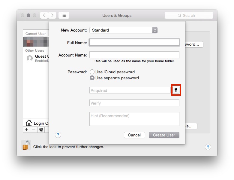 The key icon is to be clicked to launch Password Assistant.
