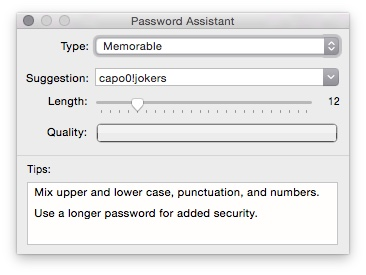 Use the drop down to select the password type.